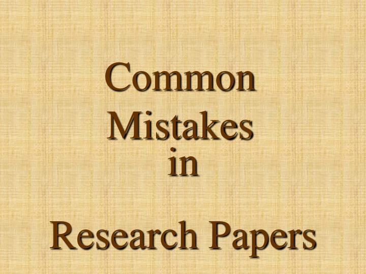 errors in research papers