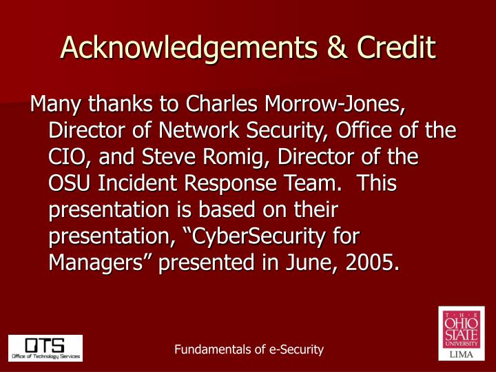 Acknowledgements credit