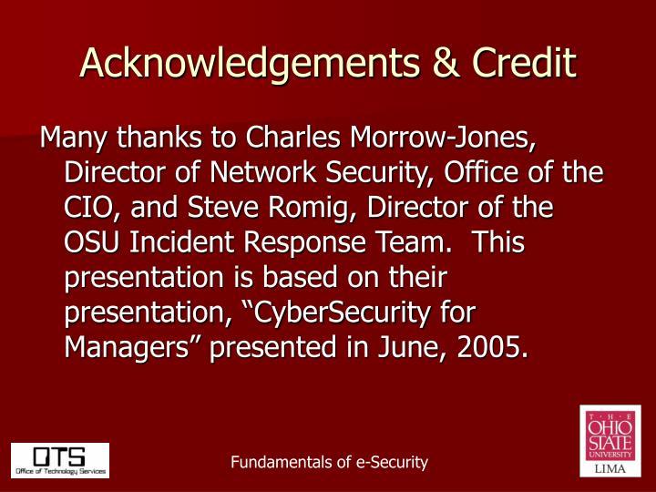 Acknowledgements & Credit