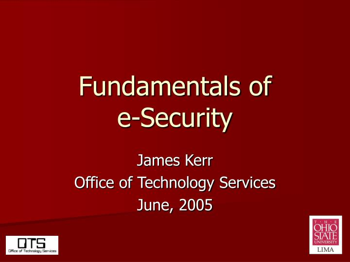 fundamentals of e security