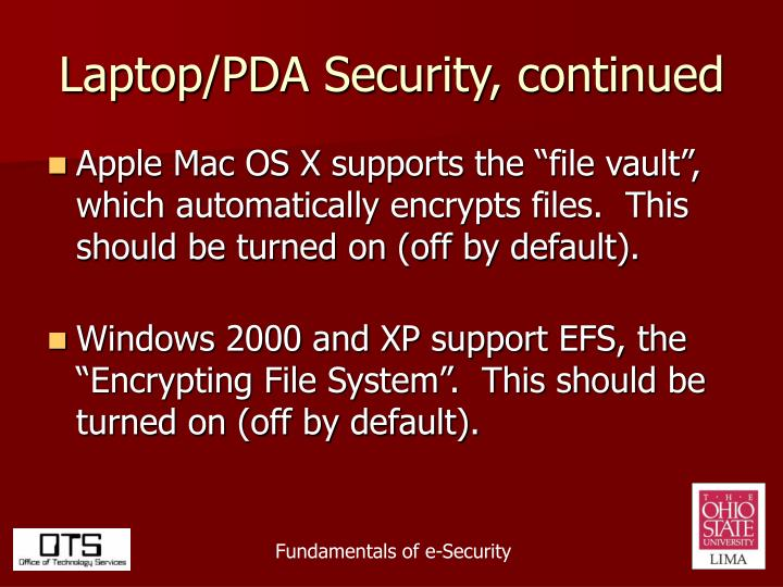 Laptop/PDA Security, continued