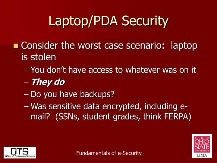Laptop/PDA Security