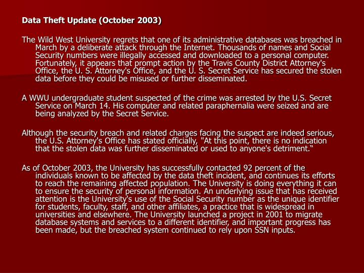 Data Theft Update (October 2003)