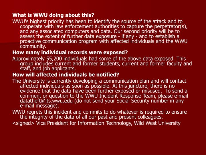 What is WWU doing about this?