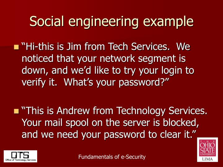 Social engineering example