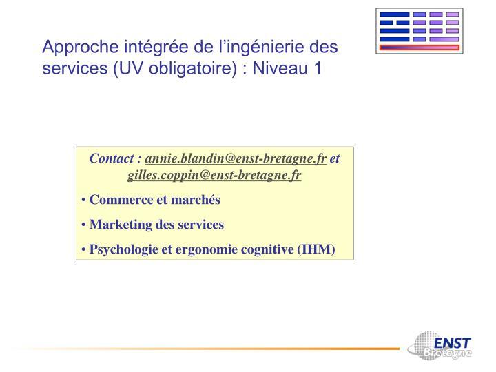 Approche intégrée de l'ingénierie des services (UV obligatoire) : Niveau 1