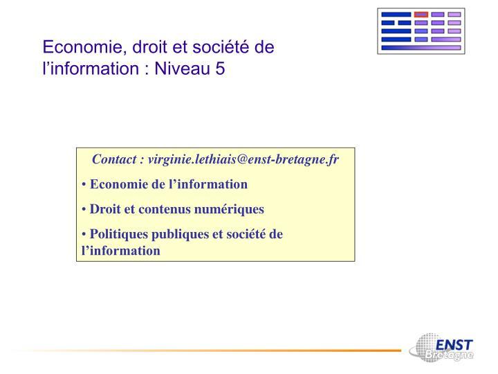 Economie, droit et société de l'information : Niveau 5