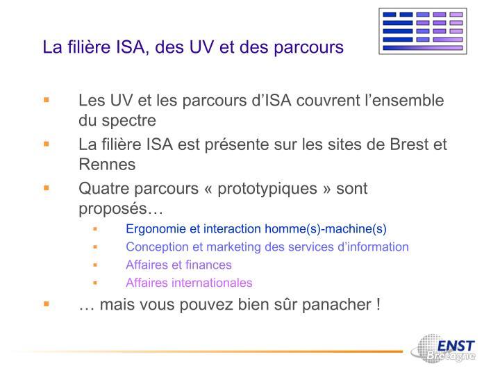 La filière ISA, des UV et des parcours