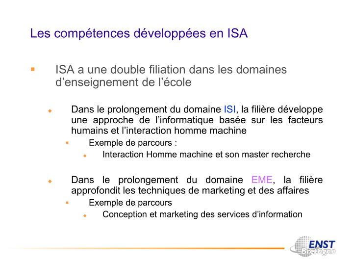Les compétences développées en ISA