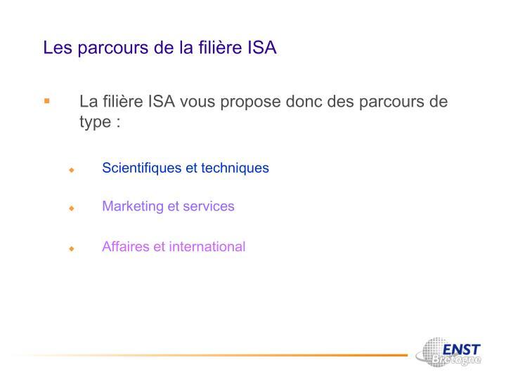 Les parcours de la filière ISA
