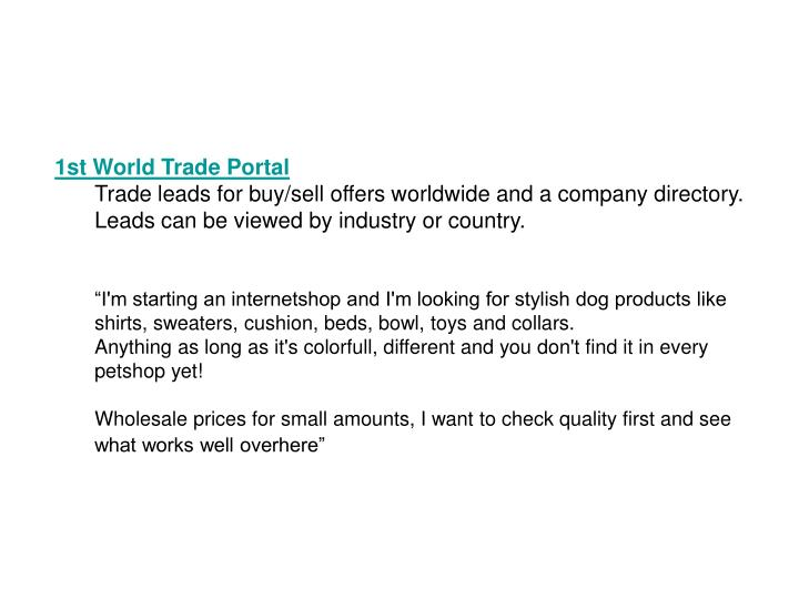 1st World Trade Portal