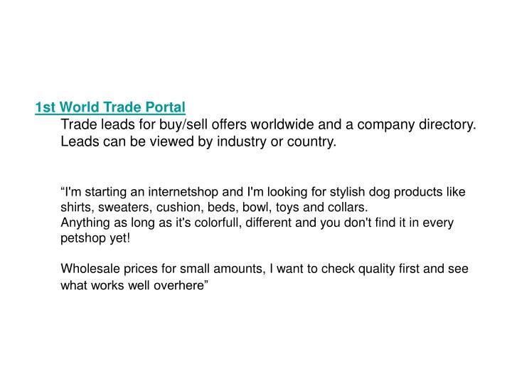 1st World Trade Portal