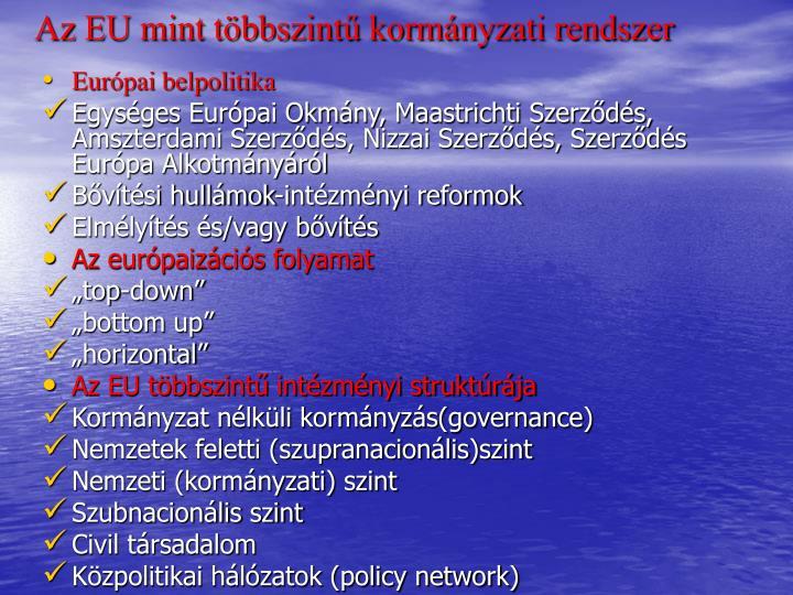 Az EU mint többszintű kormányzati rendszer