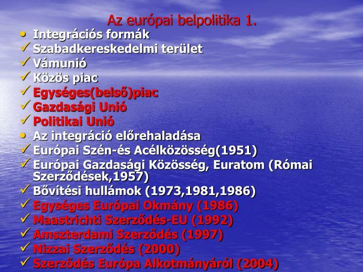 Az európai belpolitika 1.
