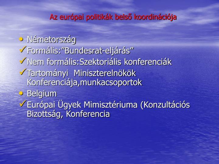 Az európai politikák belső koordinációja