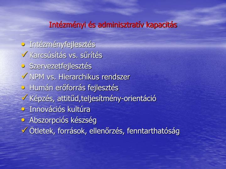 Intézményi és adminisztratív kapacitás