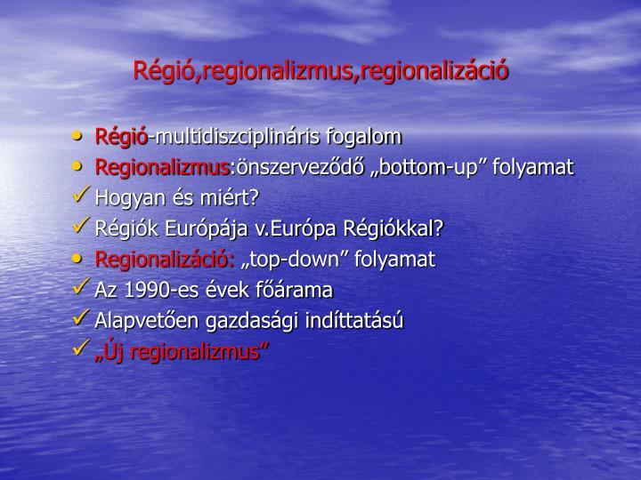 Régió,regionalizmus,regionalizáció