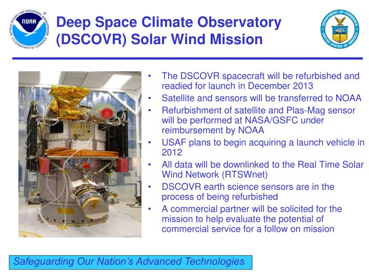 Deep Space Climate Observatory (DSCOVR) Solar Wind Mission