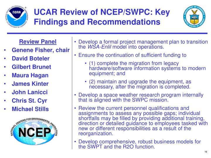 UCAR Review of NCEP/SWPC: Key Findings and Recommendations