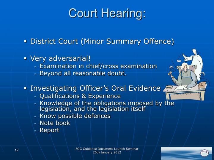 Court Hearing: