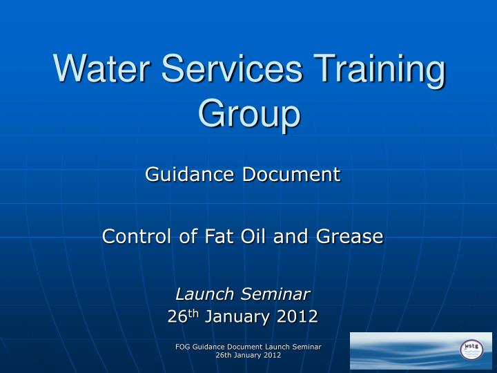 Water services training group