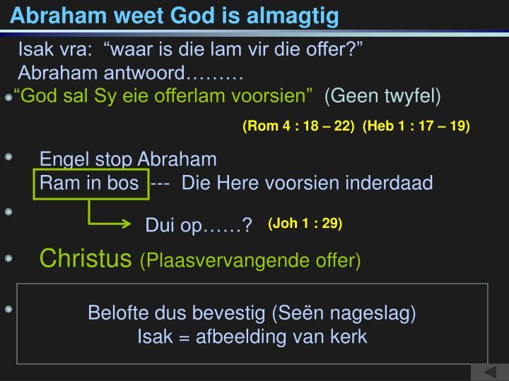 Abraham weet God is almagtig
