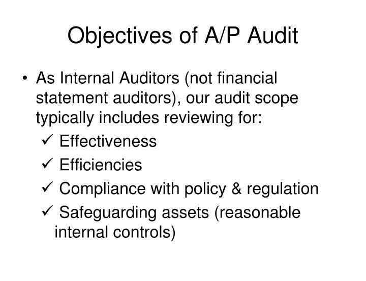 Objectives of A/P Audit