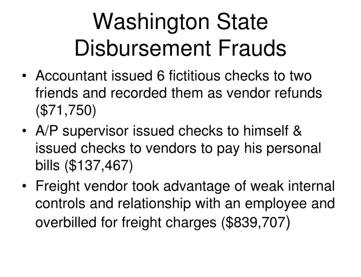Washington State Disbursement Frauds