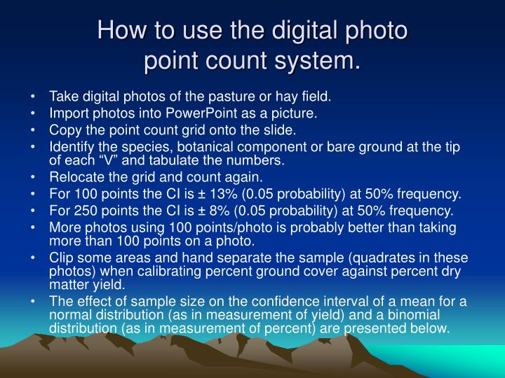 How to use the digital photo point count system