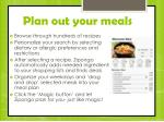 plan out your meals