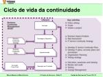 ciclo de vida da continuidade