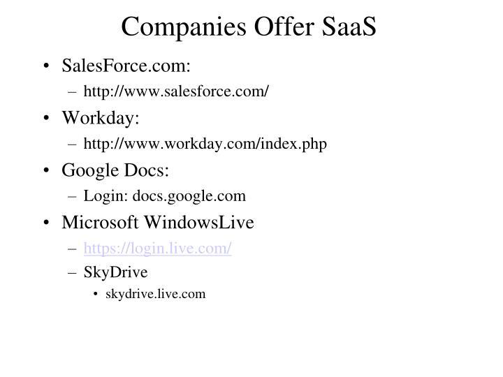 Companies Offer SaaS