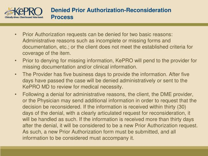 Denied Prior Authorization-Reconsideration Process