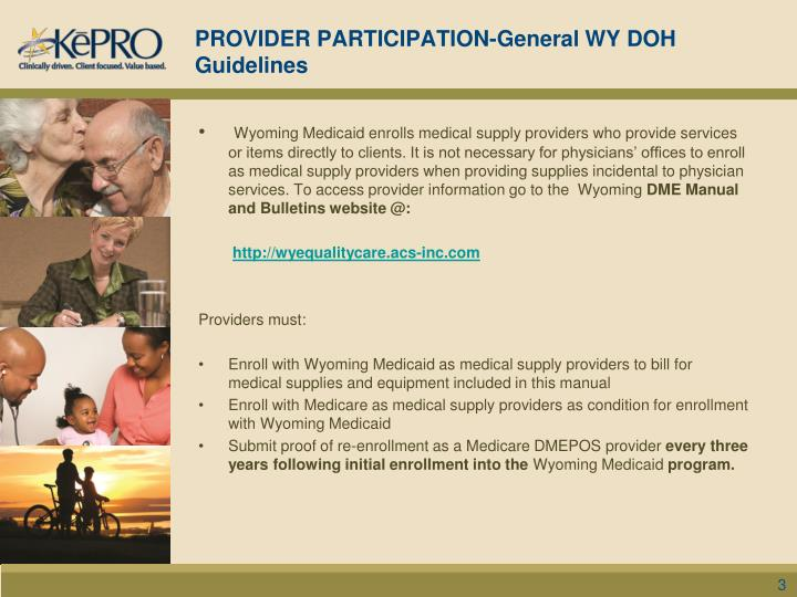 Provider participation general wy doh guidelines