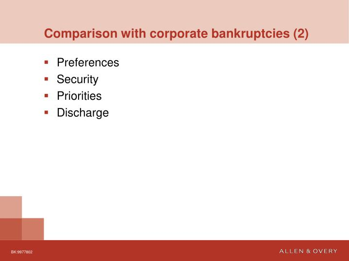 Comparison with corporate bankruptcies (2)