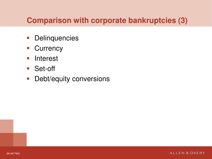 Comparison with corporate bankruptcies (3)
