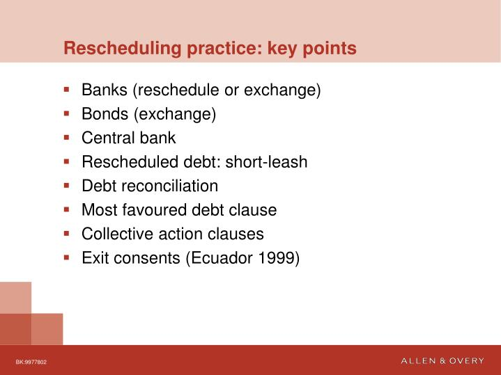 Rescheduling practice: key points