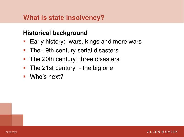 What is state insolvency?