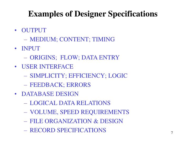 Examples of Designer Specifications