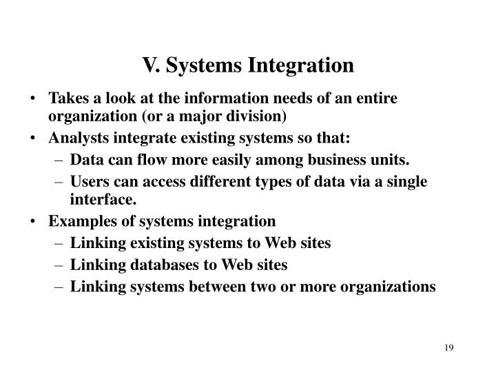V. Systems Integration