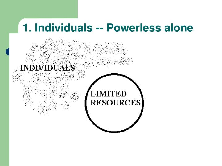 1. Individuals -- Powerless alone