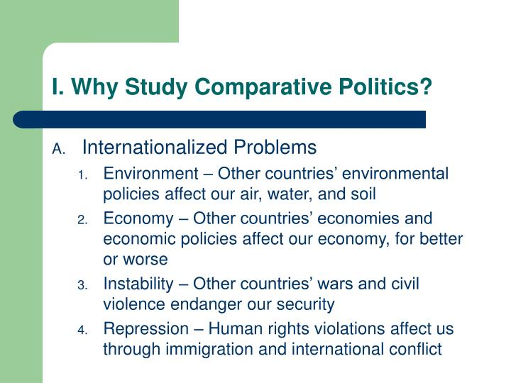 I. Why Study Comparative Politics?