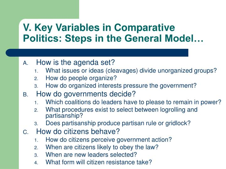 V. Key Variables in Comparative Politics: Steps in the General Model…