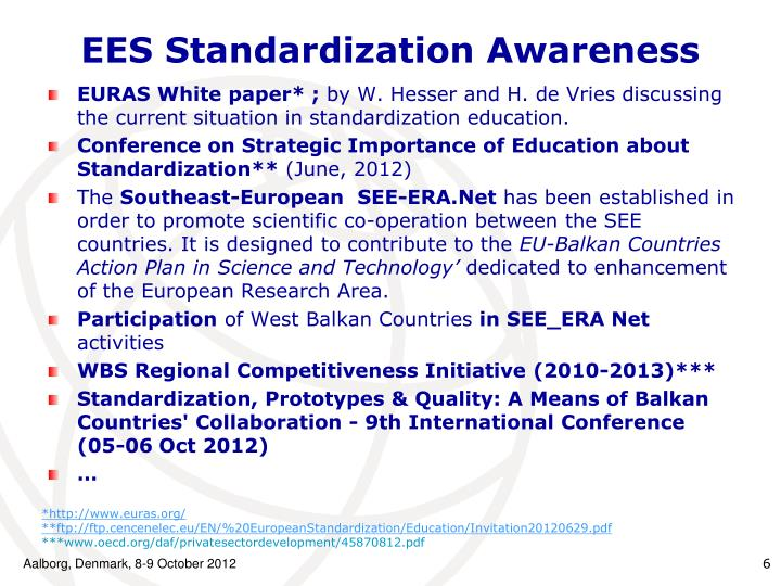 EES Standardization Awareness