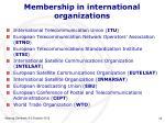 membership in international organizations