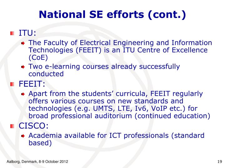 National SE efforts (cont.)