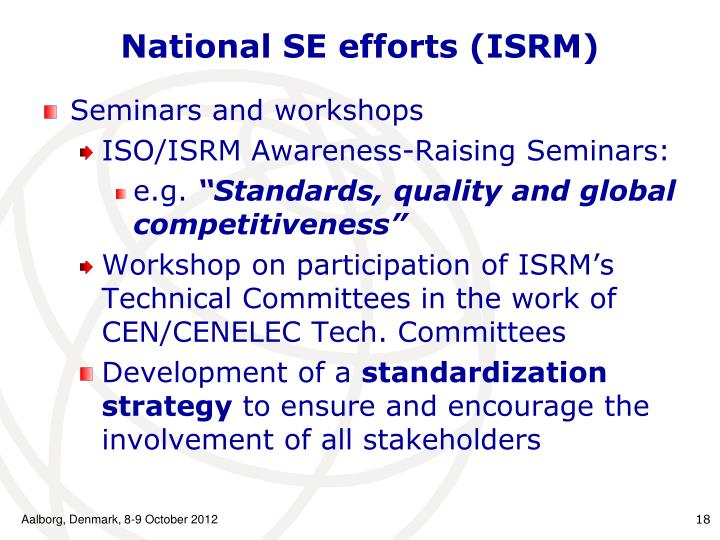 National SE efforts (ISRM)