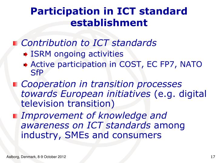 Participation in ICT standard establishment