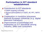 participation in ict standard establishment