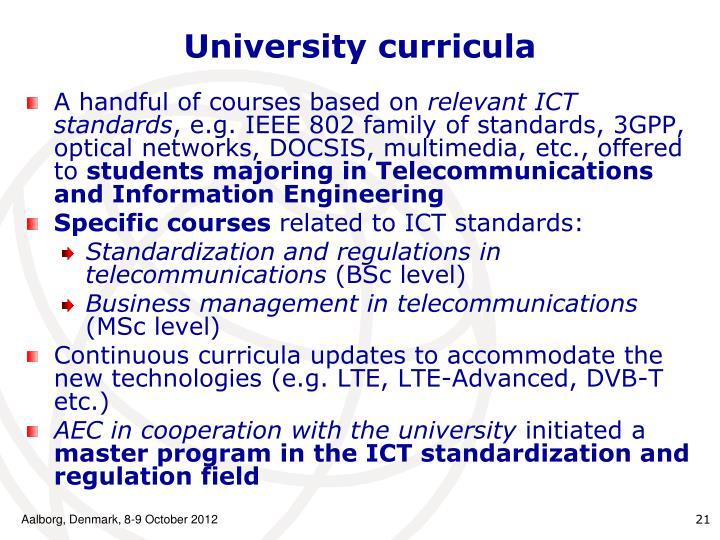 University curricula
